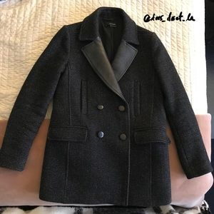 The Kooples Tweed Pea Coat with Leather Collar